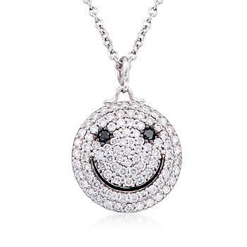 Ross simons 95 ct tw diamond smiley face necklace in 14kt tw diamond smiley face necklace in 14kt white aloadofball Image collections