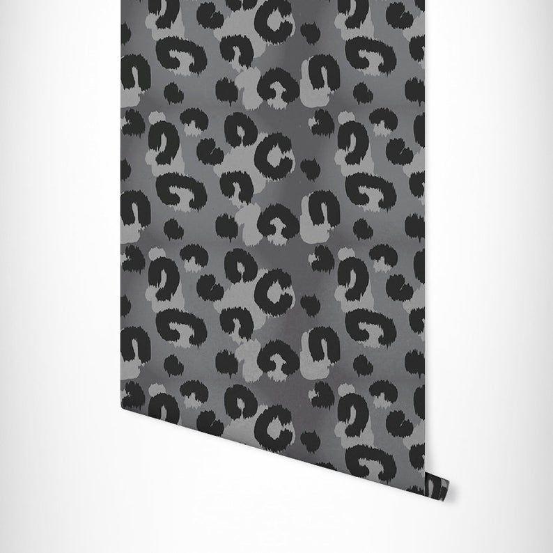 Self Adhesive Wallpaper Animal Print Grey Leopard Print Etsy Animal Print Wallpaper Self Adhesive Wallpaper Print Wallpaper
