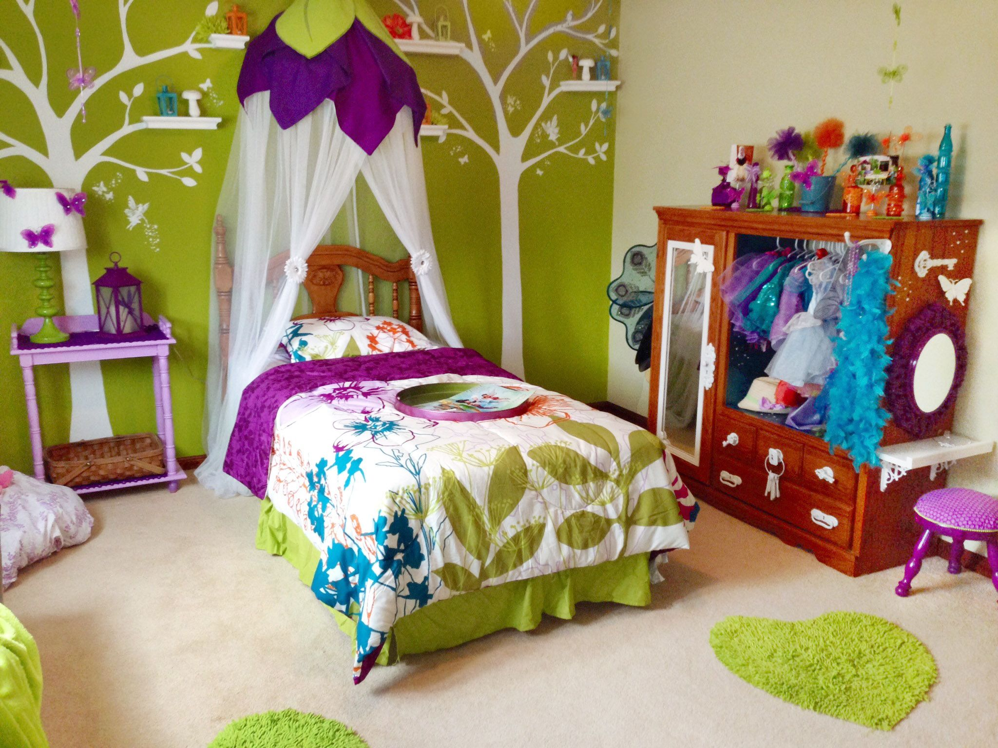 Magical fairland bedroom makeover reveal with diy upcycled fairy