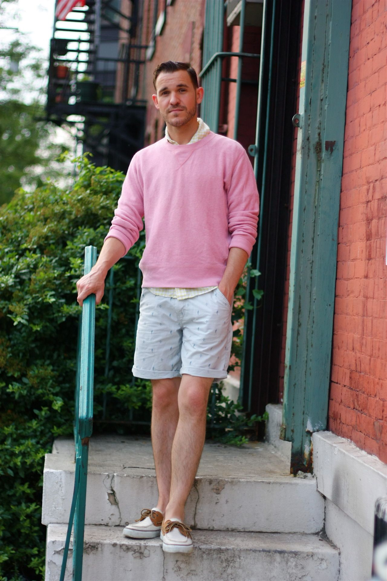 Men's Pink Crew-neck Sweater, Yellow Gingham Long Sleeve Shirt ...