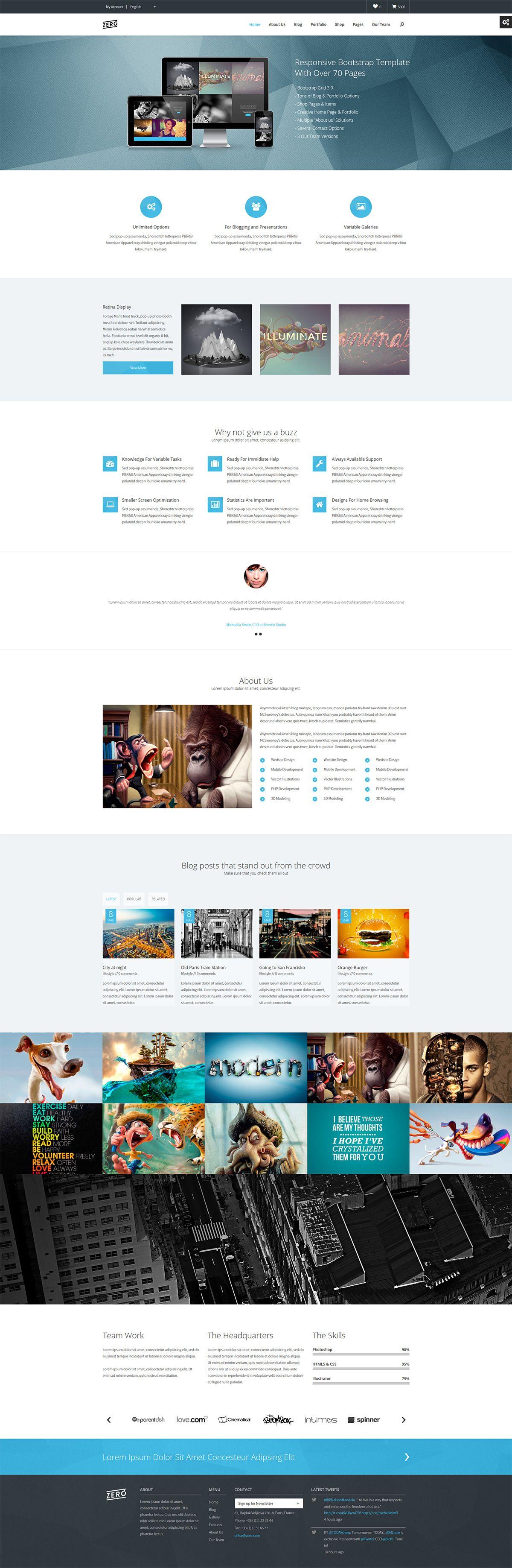 Zero - Responsive Bootstrap HTML Template | WEBDESIGN | Pinterest ...