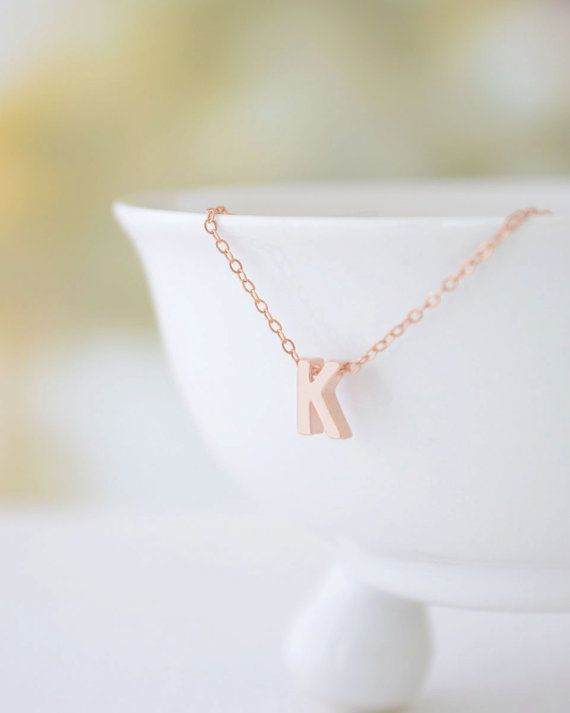 Tiny Rose Gold Letter Necklace rose gold initial on rose gold