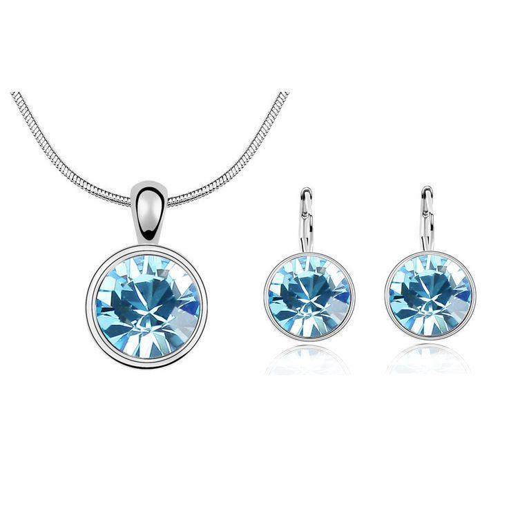 Swarovski Elements Round Bezel Jewelry Set Aquamarine Stud Earrings Necklace #SarottaJewelry #Statement