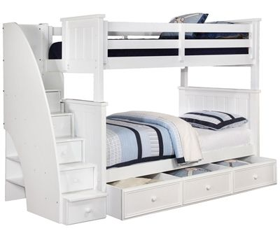 Allen House Brandon Full Over Full Bunk Bed With Stairs White