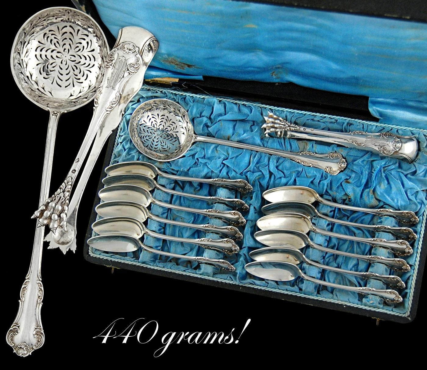 Boxed Antique French Sterling Silver 14pc Dessert or Tea Service