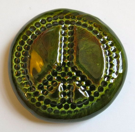 PEACE SIGN Pocket Stone  Ceramic  Forest Green by InnerArtPeace, $7.00