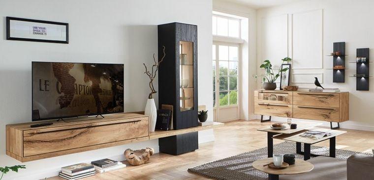 soggiorno con un arredamento moderno e mobili di legno