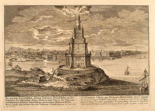 Erlach. 005- El Faro de Alejandria-Entwurf einer historischen Architektur 1721- © Universitätsbibliothek Heidelberg