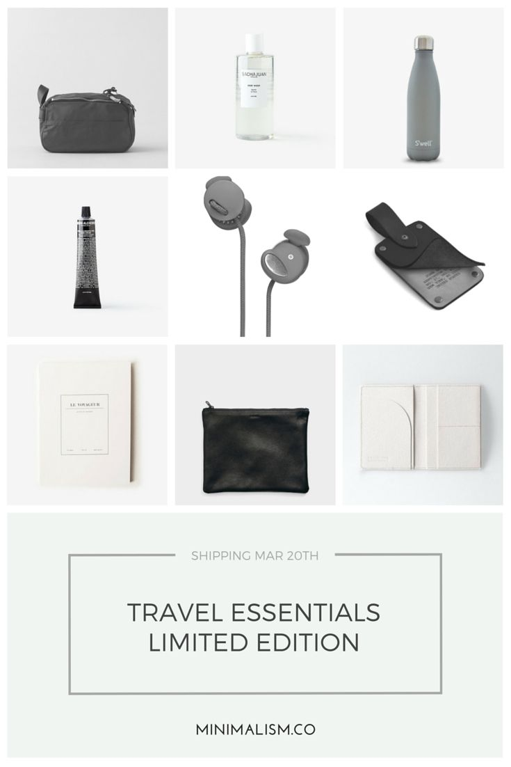 our limited edition march package: travel essentials ships in march. join now to get yours @ minimalism.co #travel #minimal #design #style