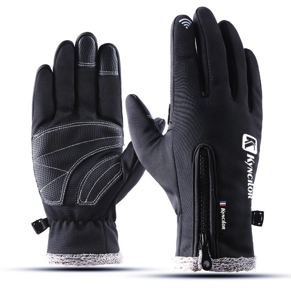 Cycling gloves touch screen windstop velvet female mens