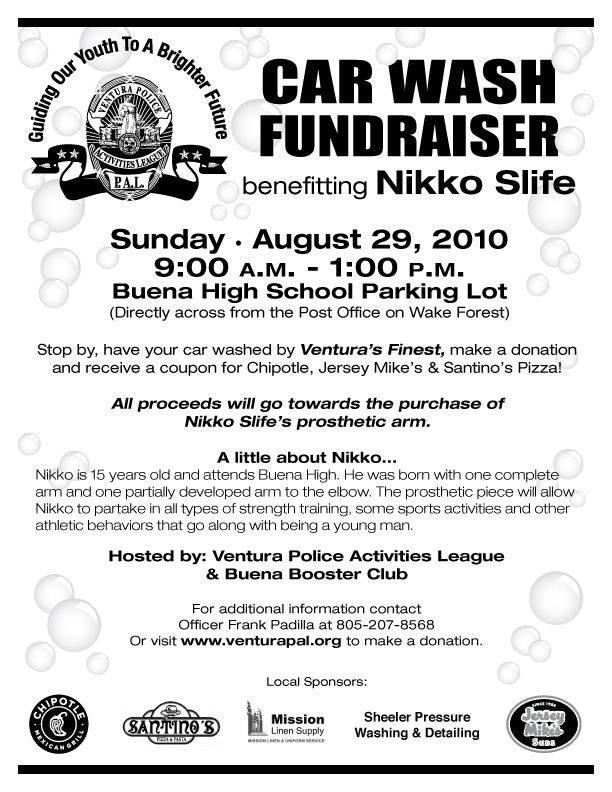 Ventura Police Activities League Announces Charity Carwash - best of sample letter requesting donations for school fundraiser
