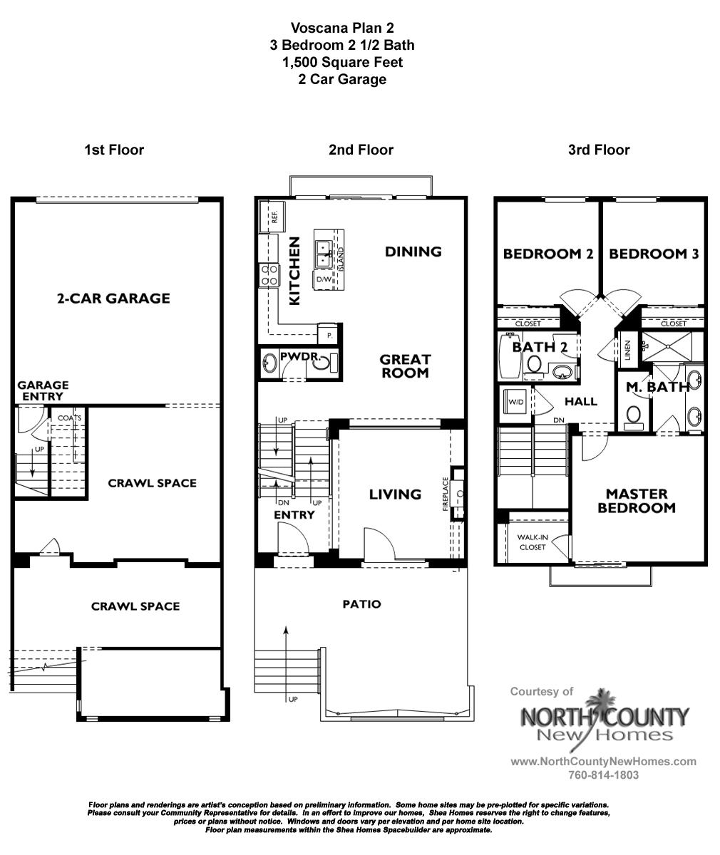 Voscana floor plan 2 new townhomes in carlsbad ca by shea homes new home floor plans in for Shea homes design center san diego