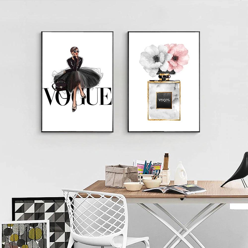 Vogue Fashion Wall Art Pink Perfume Floral Girl In Black Dress Fine Ar Fashion Wall Art Salon Wall Art Wall Art Pictures