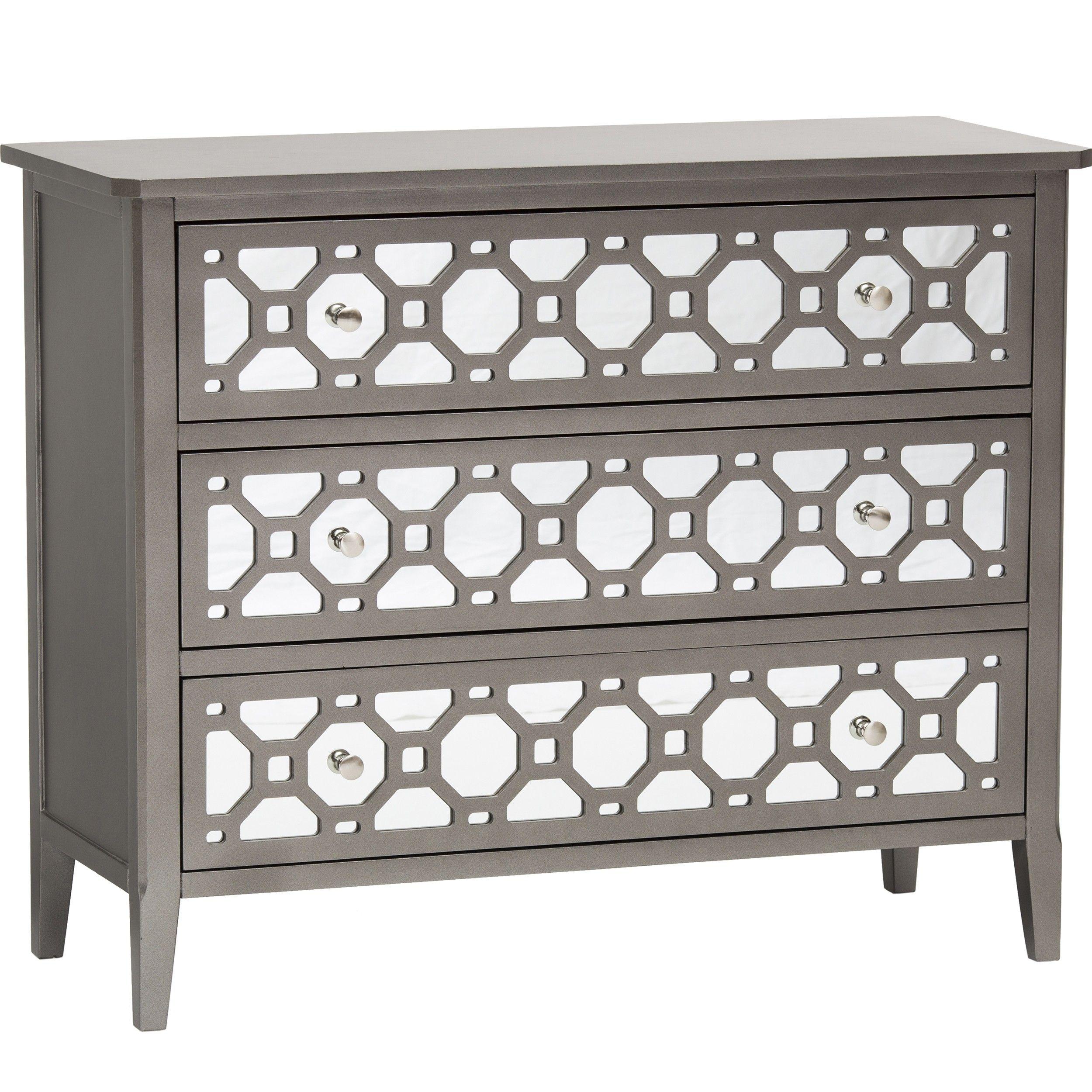 Kaylan 3 Drawer Mirrored Chest   Furniture   Bedroom   Nightstands   Mirrored  Furniture