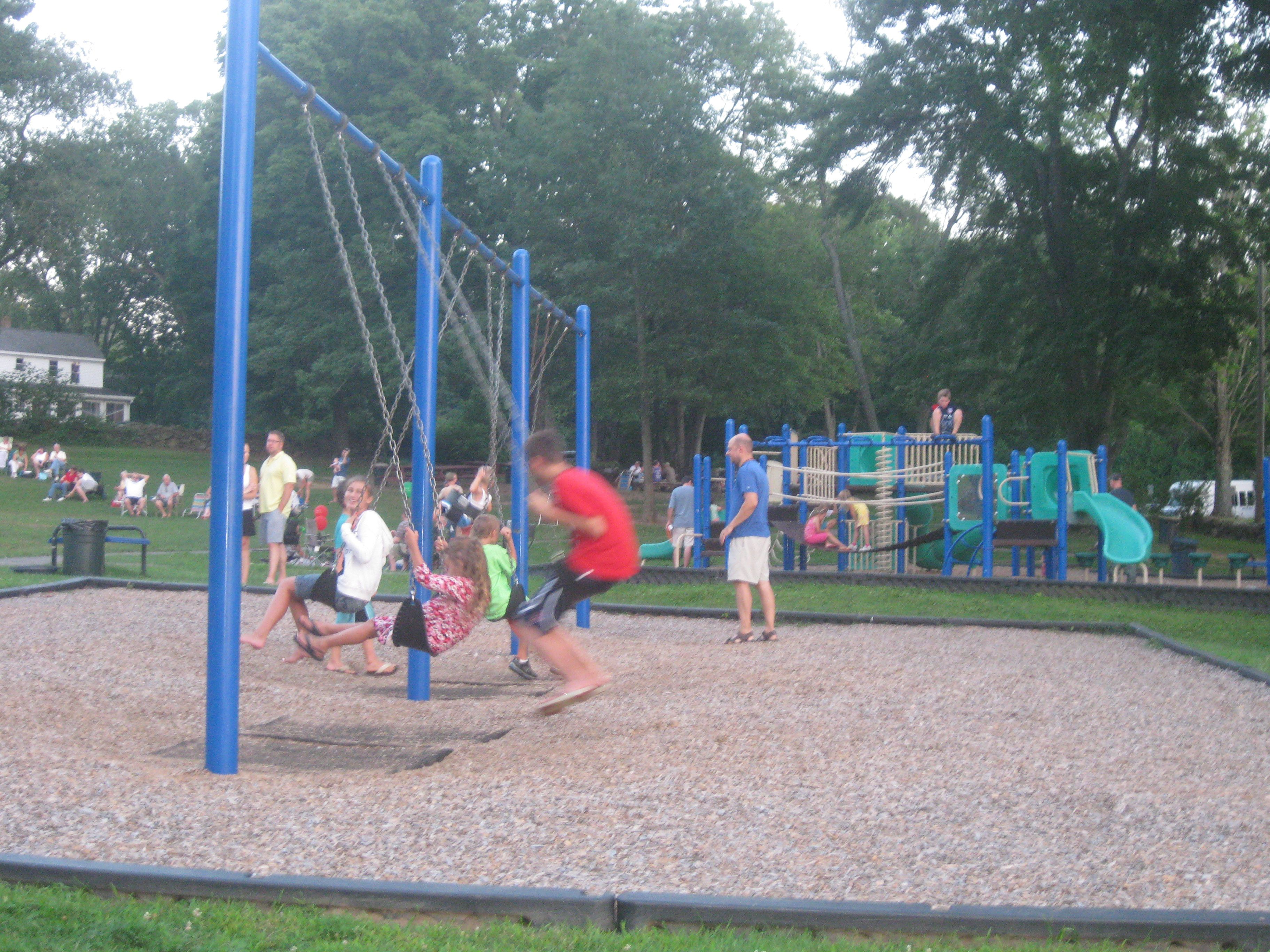 Enjoyable Times On The Swings Listening To Live Music At Patriots Park Park Live Music Park Slide