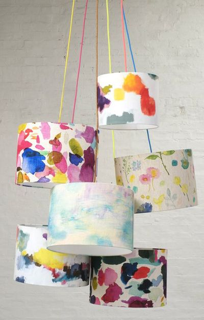 Home Decor Bluebellgray Painting Lamp Shades Colorful Lamps
