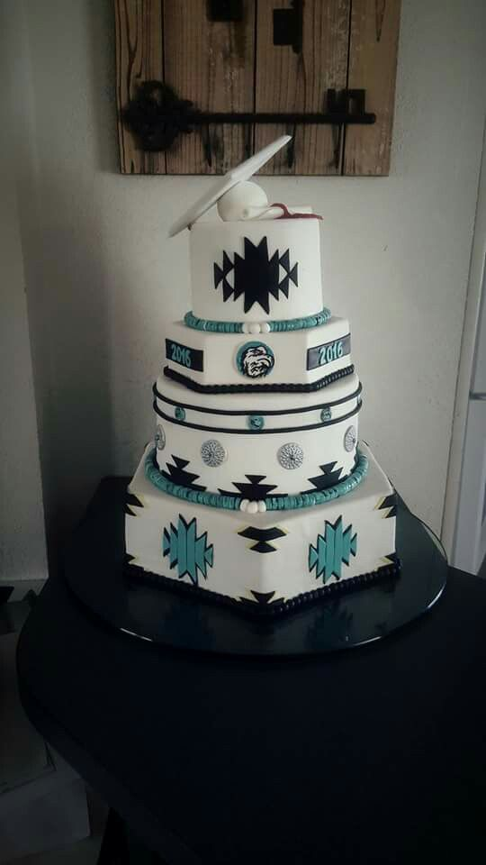 Native American Wedding Cake Turquoise And Black And White