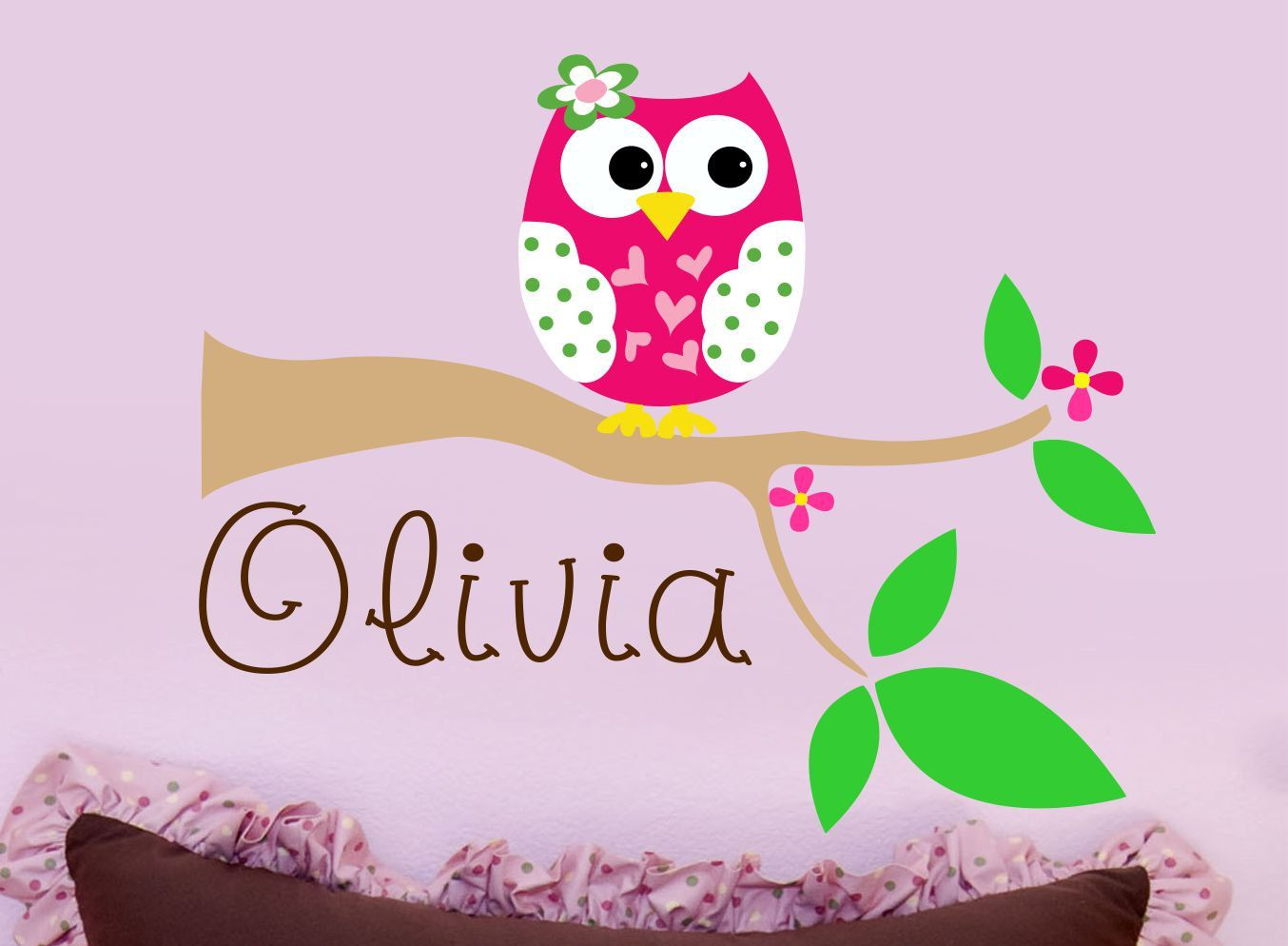 Beautiful Owl Decal Childrens Wall Decal Personalized Baby By LucyLews, $34.00