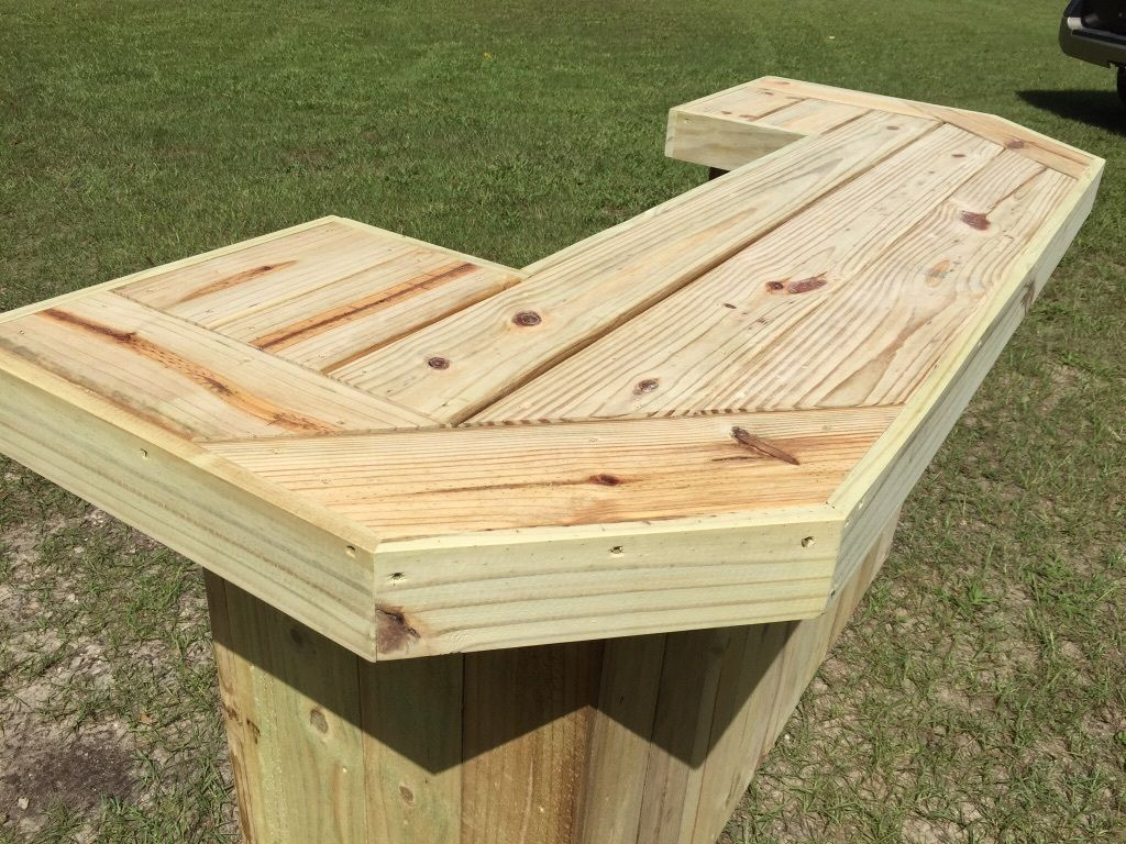 Rustic Or Industrial Outdoor Patio Bar Handed Made With Pressure Treated Wood Muebles