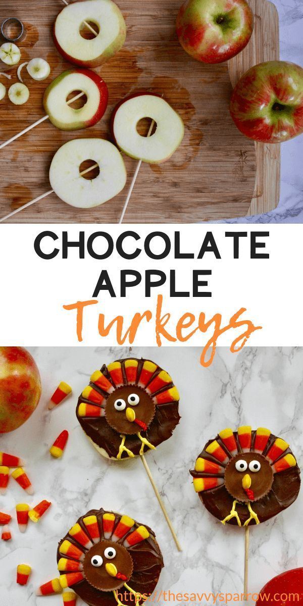Cute Thanksgiving Snacks for Kids: Chocolate Turkey Apples! | The Savvy Sparrow