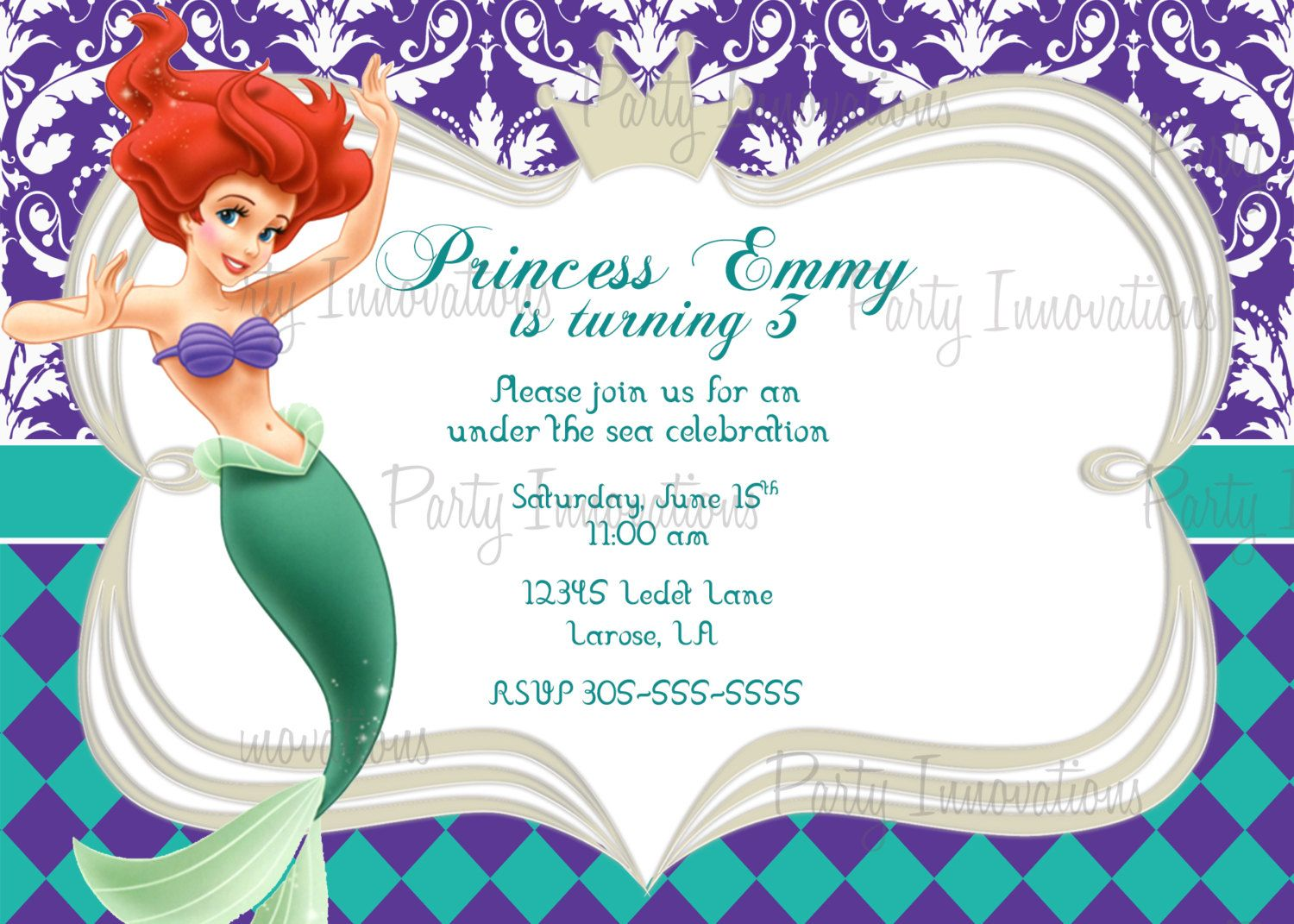 Download free template little mermaid printable birthday printable princess ariel little mermaid birthday party invitation plus free blank matching printable thank you card filmwisefo Choice Image
