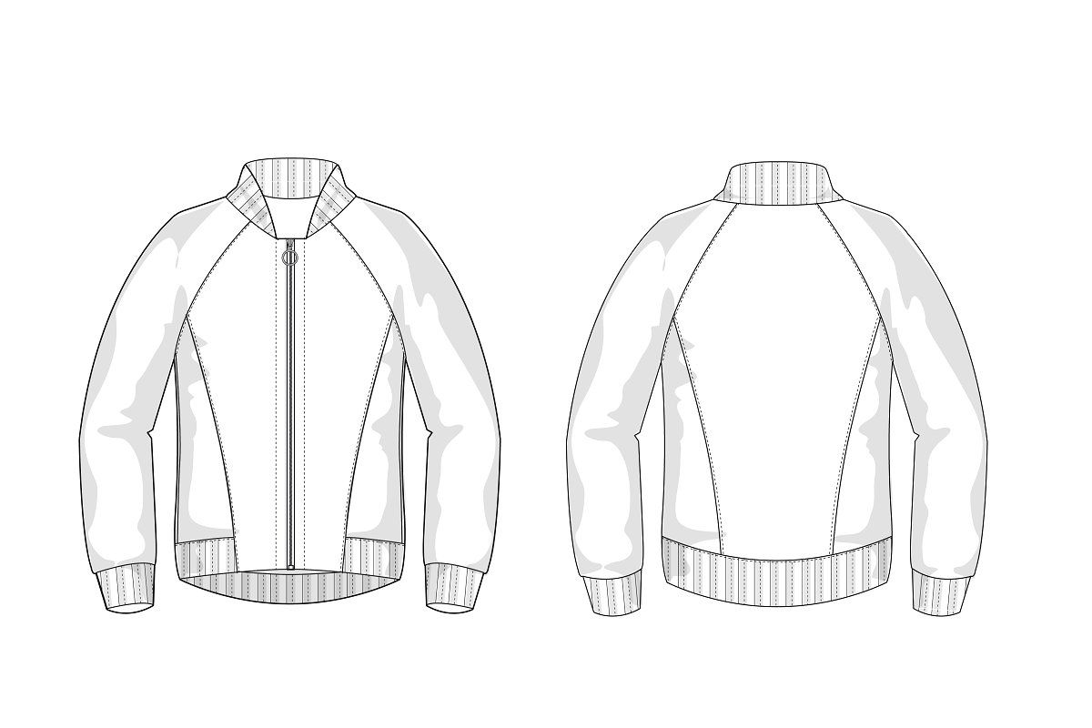 Longsleeve Fashion Flat Template Bomber Jacket Fashion Fashion Flats Jacket Style [ 800 x 1200 Pixel ]