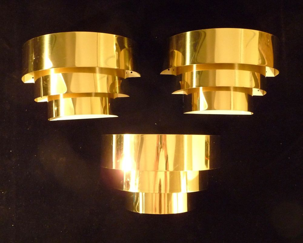 ART DECO REVIVAL STEPPED BRASS WALL SCONCES LIGHTS 1 of 3 | Wall ...