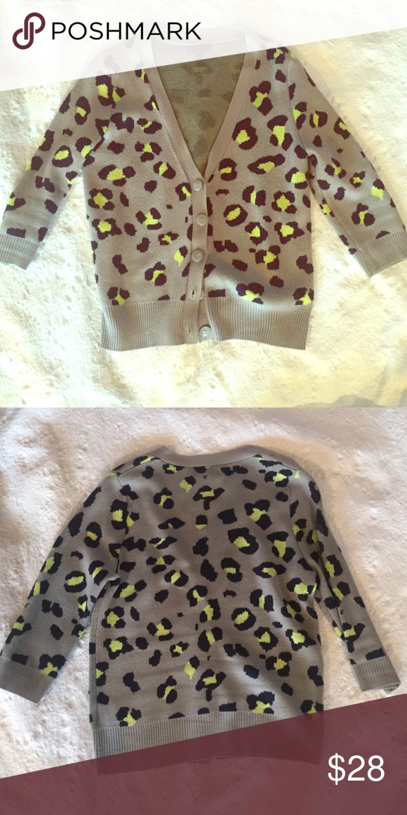 Fun leopard print cardigan💕 Cotton cardigan with fun leopard print - grey with navy and bright yellow.  Eye catching! Excellent condition! Takeaway Sweaters Cardigans