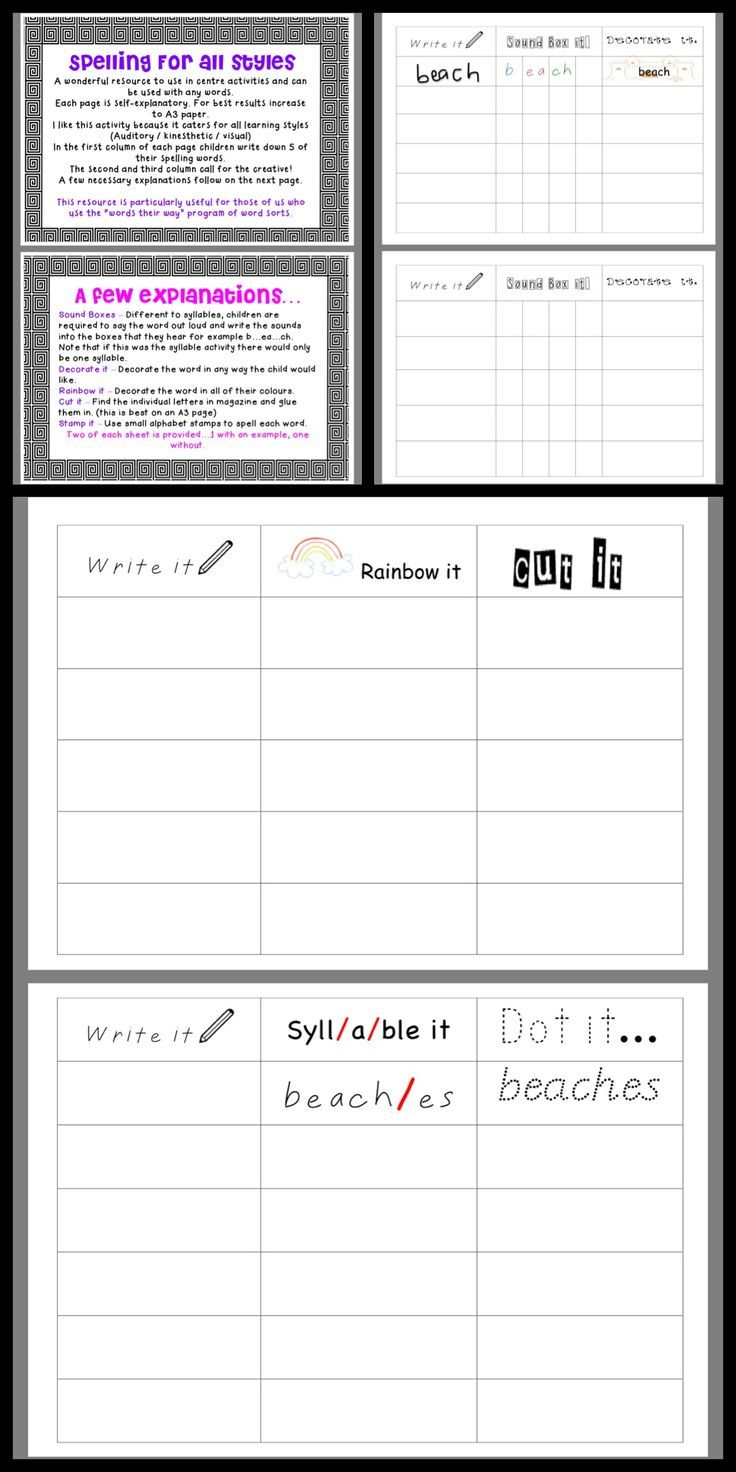 Spelling multiple intelligences/learning styles activities
