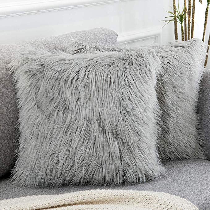 "Set of 4 Silver Grey Luxury Faux Mink Stripe Fur 18/"" Super Soft Cushion Covers"