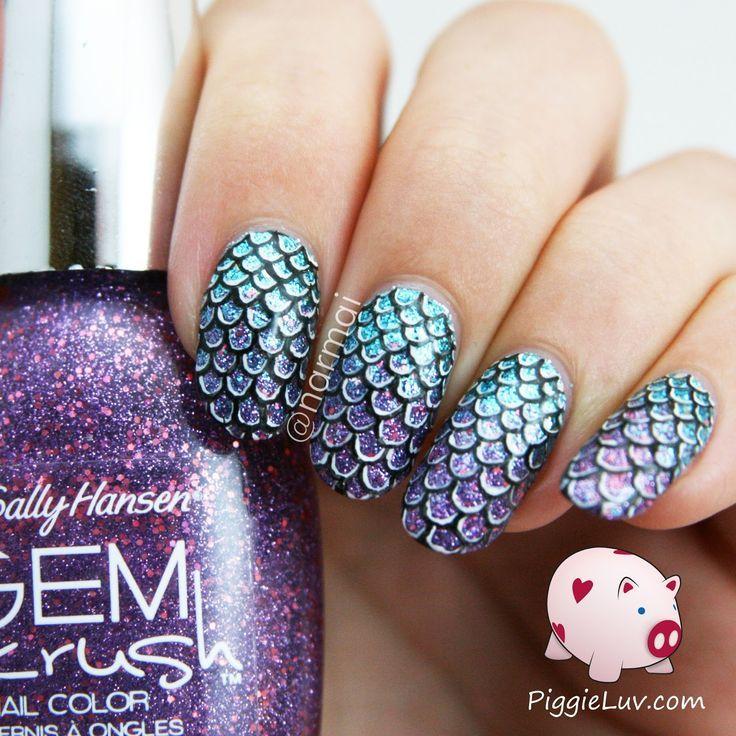 PiggieLuv: Mermaid scales nail art + video tutorial - Picmia ...