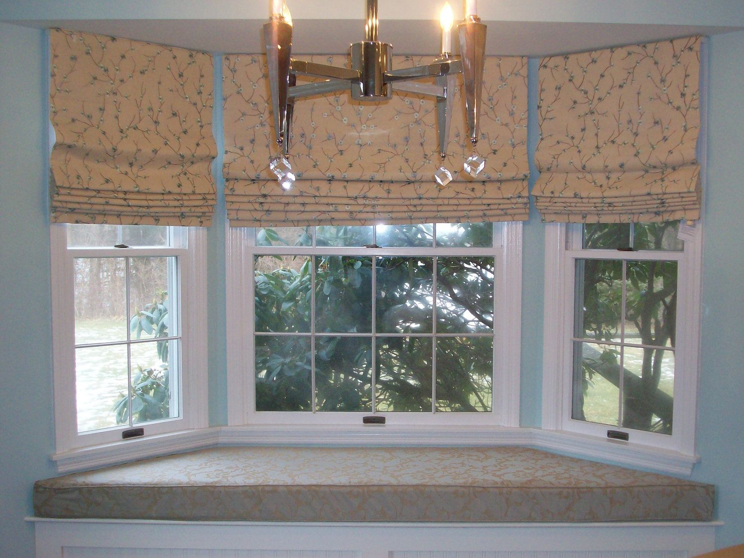 Bay Window Pics With Modern White Wooden Frames And Nice Liner Wainscoting Wall Painting Design For Small Treatments Pictures