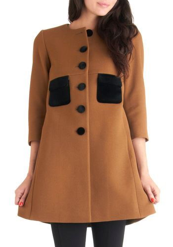 {3/4 sleeve, velvet accents} by Orla Kiely - sweet & classic little tan coat perfect for Fall!