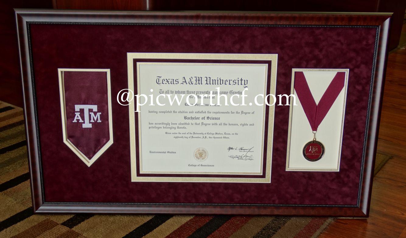 Custom Framed Texas A&M Degree. | Framing of Degrees, Diplomas, and ...