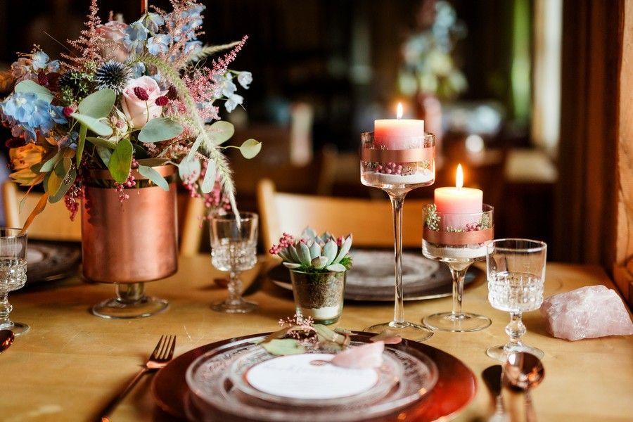 Hochzeit Tischdeko Kupfer Gesteck Pastell Sukkulente 2 Tischdeko