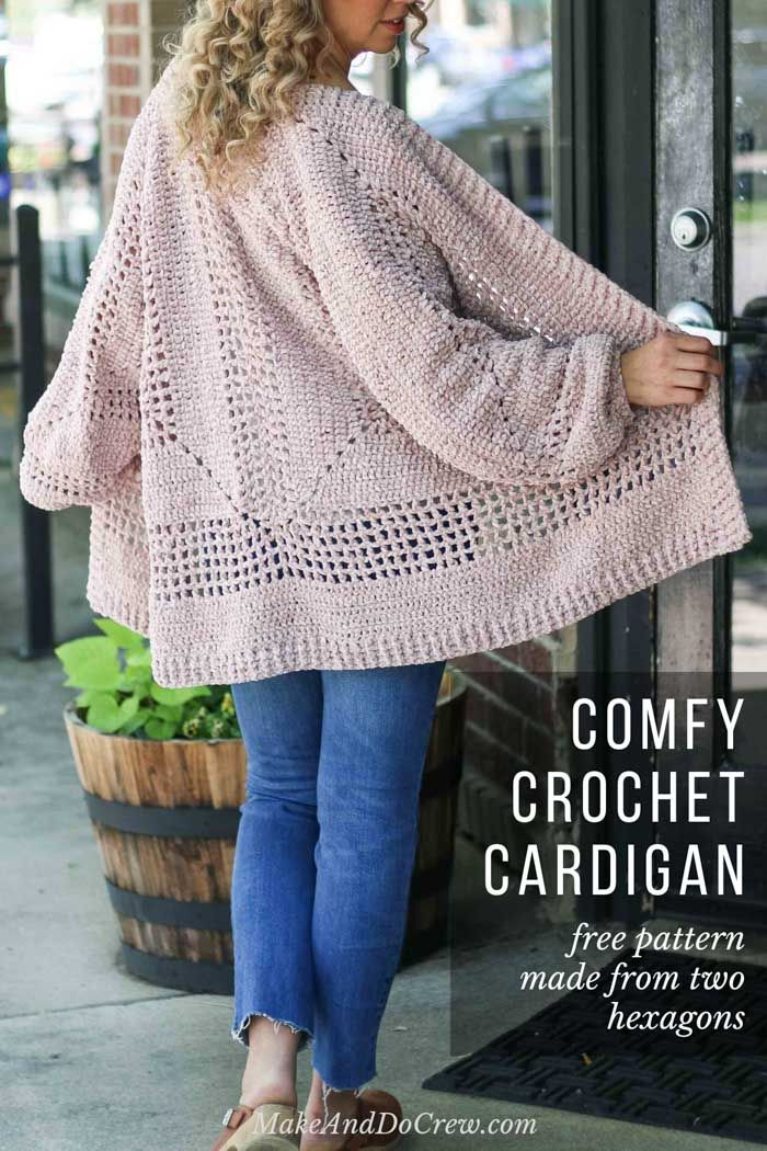 Crochet Cardigan Sweater Pattern made from two hexagons - free pattern!
