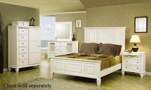 4pc King Size Bedroom Set Cape Cod Style in White Finish #Bedroom ...