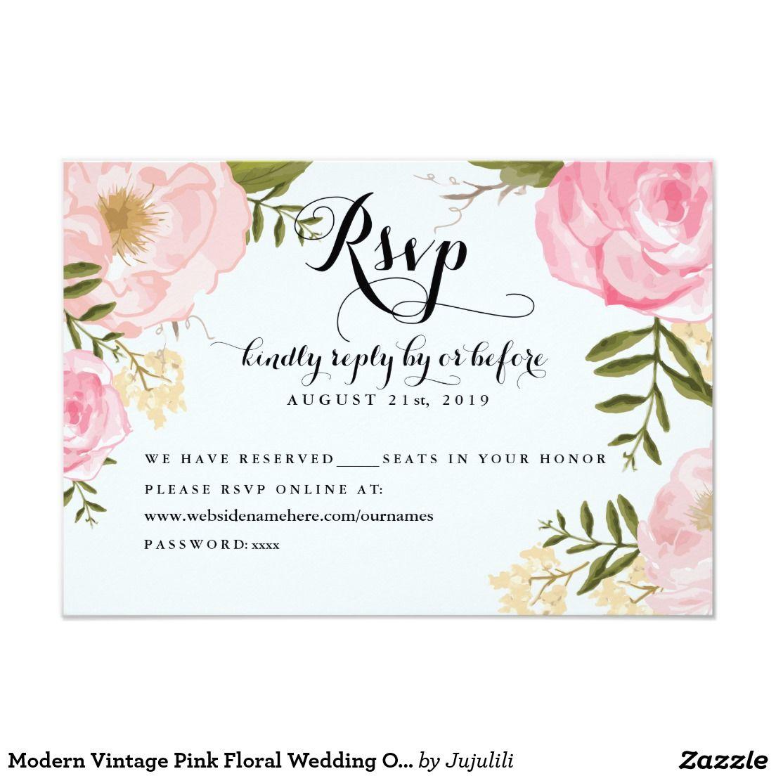 Modern vintage pink floral wedding online rsvp 35x5 paper invitation card flowery wedding for Free rsvp cards
