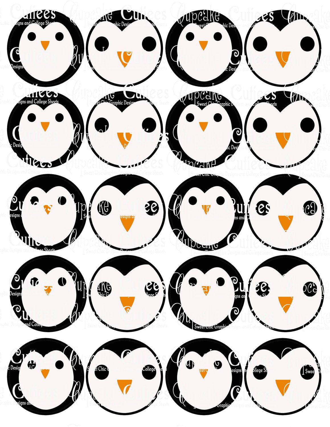 Penguin Faces Digital Collage Cupcake Toppers 2 Inch Circle Tags