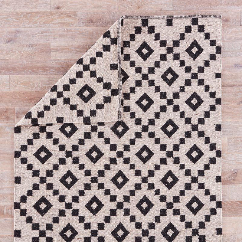 Campbelltown Geometric Handmade Flatweave Wool Ivory True Black Area Rug Black Area Rugs Area Rugs Wool Area Rugs