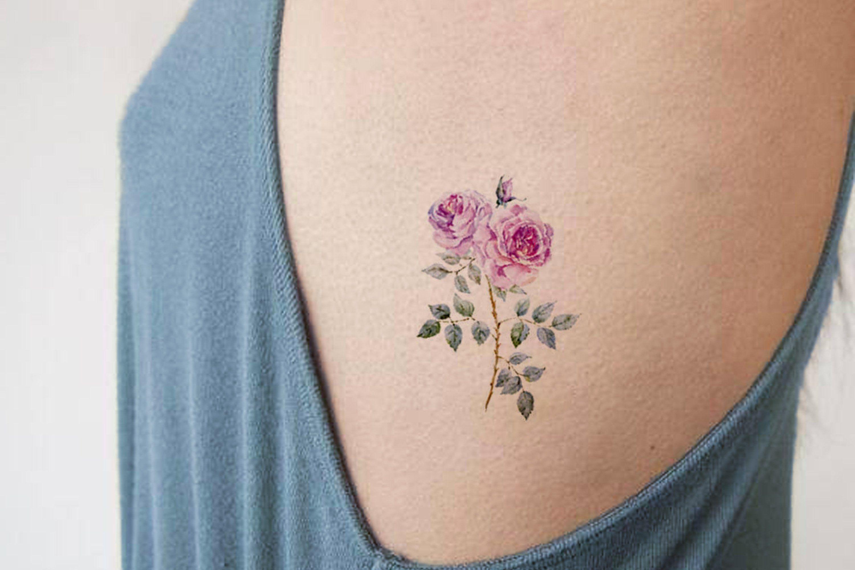 Ryoko small watercolor wild flower rose temporary tattoo tattoos