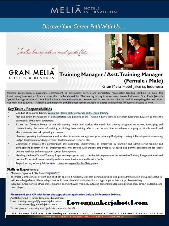 Lowongan Kerja Hotel Gran Melia Jakarta Terbaru 2016 Hotel