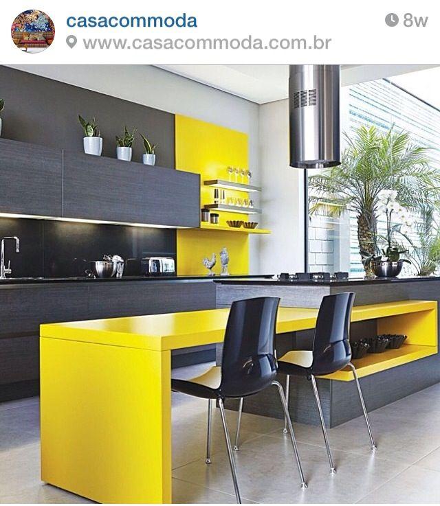 Cozinha moderna  인테리어  Pinterest  책상, 부엌 및 의자