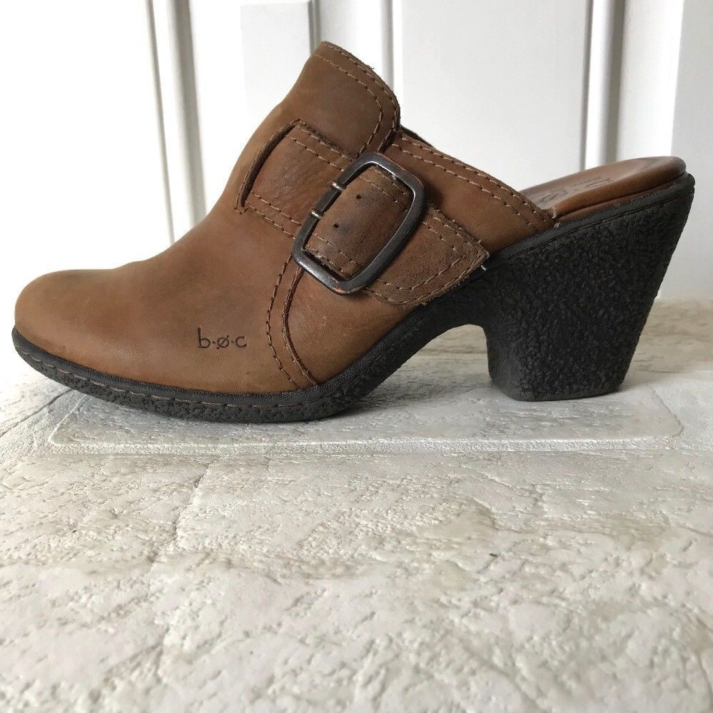 82842279551e BOC Leather Mules Size 9 Brown Buckle Slip On Clog Boot Shoe Born Concept   BOCBornofConcept  Sandals  Any
