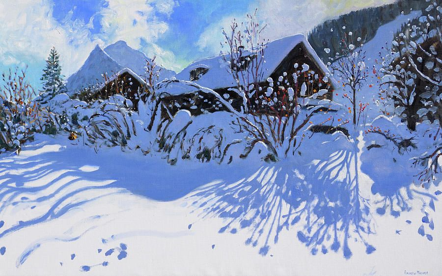 Fresh Snow, Morzine Village Painting by Andrew Macara