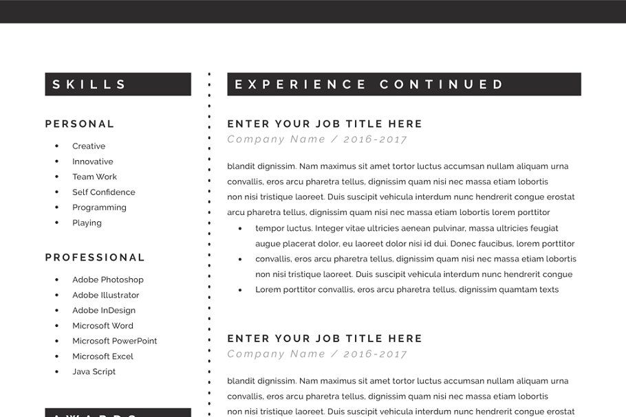 Classical Resume in MS Word ResumeClassicalMSTemplates