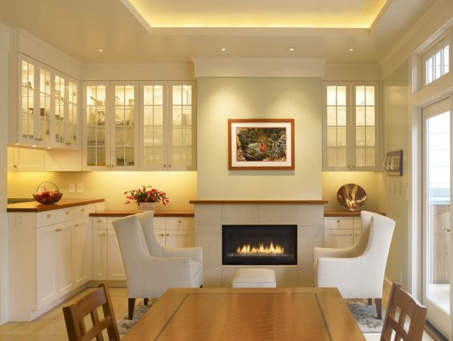 abgehängte-decke-küche-weiß-landhaus-led-leistenjpg (650×489 - Led Einbauleuchten Küche