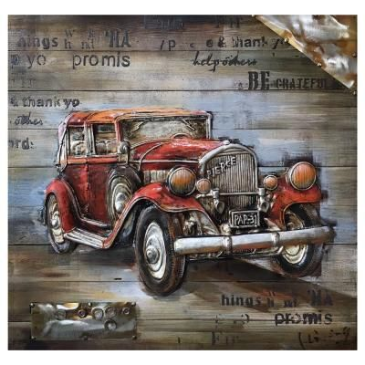 Yosemite Home Decor Red Vintage Car by Unknown Artist Wooden Wall Art 3130051  The Home Depot