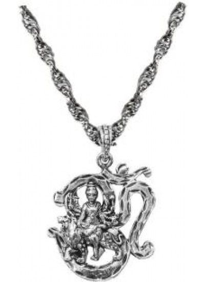 Silver om with durgamata chain pendant om pendant in gold om buy designer fashionable om pendants for men boy we have a wide range of traditional modern and handmade swivel bar mens pendant online aloadofball Image collections
