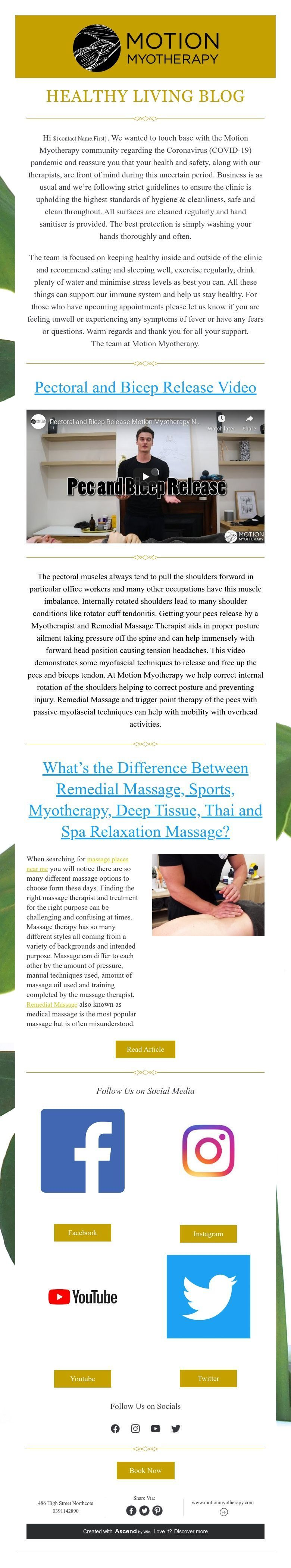 Healthy Living Blog in 2020 Myotherapy, Remedial massage